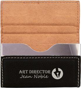 Hard Business Card Holder Black/Silver 3 3/4 x 2 3/4 Laserable Leatherette