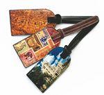 Custom Genuine Leather Luggage Tag w/ Concealed ID Window (4 Color/ 1 Side)