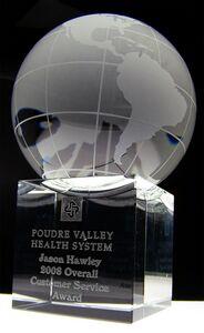 Clear Cube World Globe And Base Award