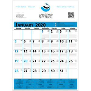 2020 Commercial Planner Wall Calendar - Blue & Black