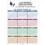 Single Sheet Wall Calendar - 4-Color Quarterly Full Year View - 2021