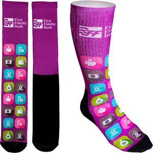 Womens Full Color Crew Promo Socks with Black Bottom