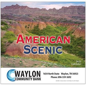 American Scenic Wall Calendar - Stapled - 2021