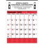 Custom Commercial Planner Wall Calendar - Red & Black - 2021