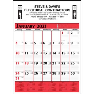 Commercial Planner Wall Calendar - Red & Black - 2021