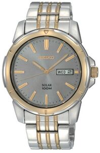 Seiko Mens Solar Watch w/ Charcoal Round Dial