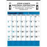 Custom Commercial Planner Wall Calendar - Blue & Black - 2021
