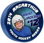 Custom 4 Color Process Digitally Printed Light Blue 4 oz Junior Hockey Pucks - DOUBLE SIDED PRINTING