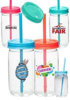 21 oz. Plastic Lollipop Mason Jars with Straw