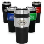 Custom 16 Oz. Stainless steel Travel Tumblers w/ Bright Color Band
