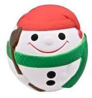 Snowman Ball w/ Green Scarf Stress Reliever Squeeze Toy