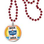 Custom Round Mardi Gras Beads with Decal on Disk - Red