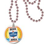 Custom Round Mardi Gras Beads with Decal on Disk - Champagne Pink
