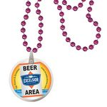 Custom Round Mardi Gras Beads with Decal on Disk - Pink