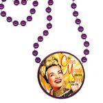 Custom Round Mardi Gras Beads with Inline Medallion - Purple