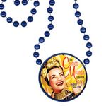 Custom Round Mardi Gras Beads with Inline Medallion - Royal Blue