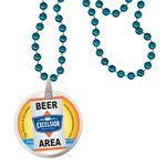 Custom Round Mardi Gras Beads with Decal on Disk - Turquoise