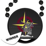 Custom Round Mardi Gras Beads with Inline Medallion and Peel and Win Decal