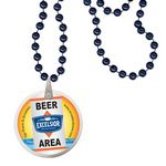 Custom Round Mardi Gras Beads with Decal on Disk - Navy Blue