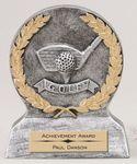 Custom Silver and Gold Golf Theme Resin Award
