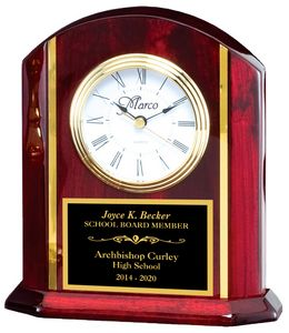 6 1/4 X 8 Desk Clock With White Face And Gold Accents