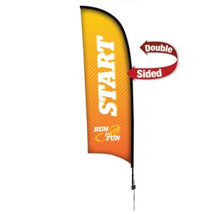 Custom 9' Premium Razor Sail Sign, 2-Sided, Ground Spike