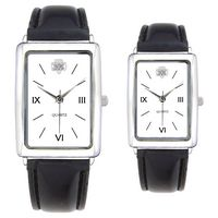 His Or Hers Square Face Leather Band Watch