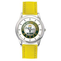 Men's Yellow Leather Strap Watch