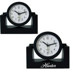 Custom Standard Swivel Analog Desk Clock-BLACK