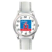 Men's White Leather Strap Watch