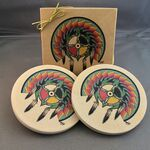Custom Absorbent Round Natural White Sandstone Coasters - Set of 2 in Gift Box