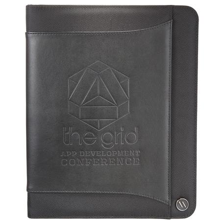 elleven Core Zippered Padfolio, 0011-72-L, Debossed Logo