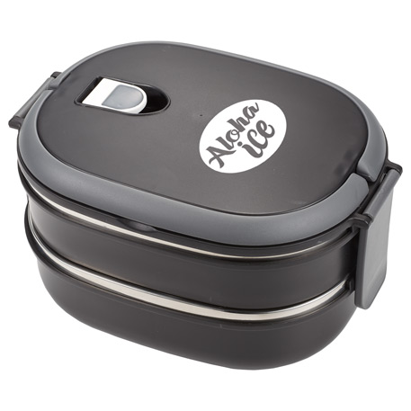 Two Tier Insulated Oval Lunch Box Food Container, 1031-68, 1 Colour Imprint
