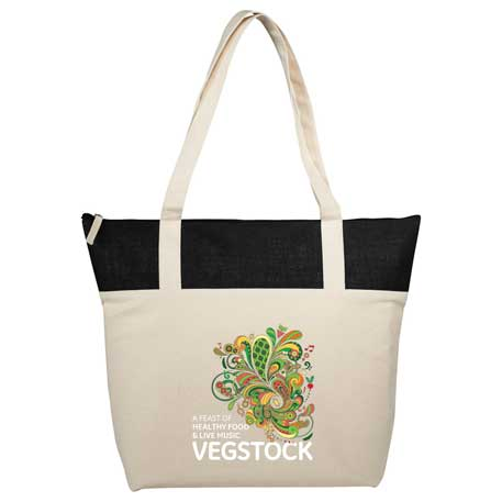 12 oz. Cotton Canvas and Jute Accent Zippered Tote, 7900-72 - 1 Colour Imprint