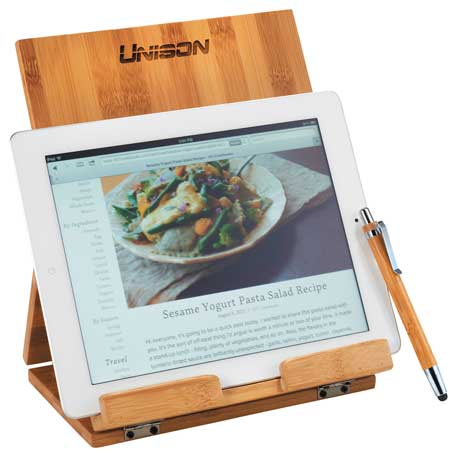 Tablet or Recipe Book Stand with Ballpoint Stylus, 1300-49, Laser Engraved