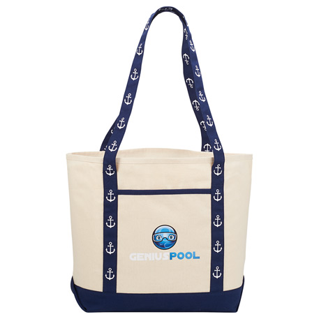 8 oz. Cotton Canvas Printed Handle Boat Tote, 7900-88 - 1 Colour Imprint