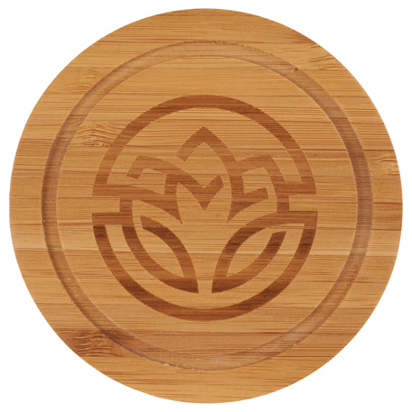 Round Bamboo Coaster Set with Holder, 1032-86, Laser Engraved Imprint