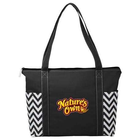 Geometric Zippered Business Tote, 2301-24 - 1 Colour Imprint
