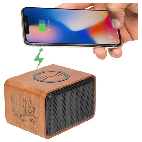 Wood Bluetooth Speaker with Wireless Charging Pad, 7197-05-L, 1 Colour Imprint