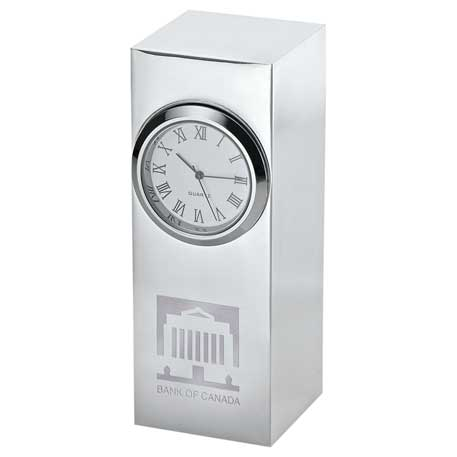 Radiance Silver Plated Column Clock, 1550-04, Laser Engraved
