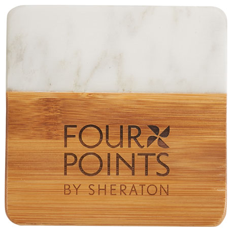 Marble and Bamboo Coaster Set, 1401-20 - Laser Engraved Imprint