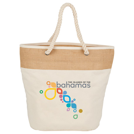 12 oz. Cotton Canvas and Jute Rope Tote, 7900-22 - 1 Colour Imprint