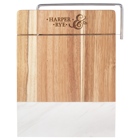 Marble and Acacia Wood Cheese Cutting Board, 1031-63 - Laser Engraved Imprint