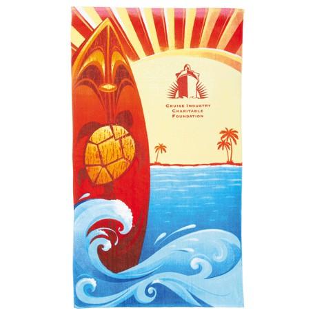 14 lb./doz. Surf Board Beach Towel, 2090-27 - Tone on Tone Imprint