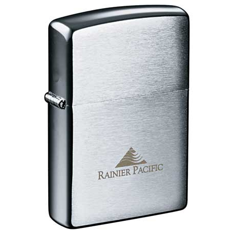 Zippo(R) Windproof Lighter Brush Chrome, 7550-19, 1 Colour Imprint