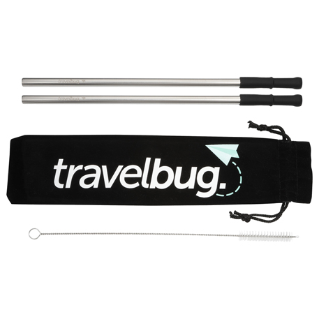 Reusable Stainless steel Straw Set with Brush, 1626-60, 1 Colour Imprint