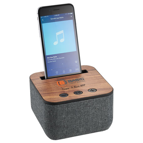 Shae Fabric and Wood Bluetooth Speaker, 7198-12, Laser Engraved Imprint