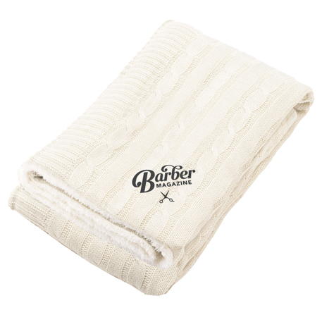 Field & Co. Cable Knit Sherpa Blanket, 1081-11, Embroidered Imprint
