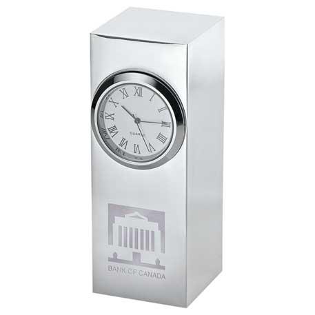 Radiance Silver Plated Column Clock, 1550-04 - Laser Engraved Imprint