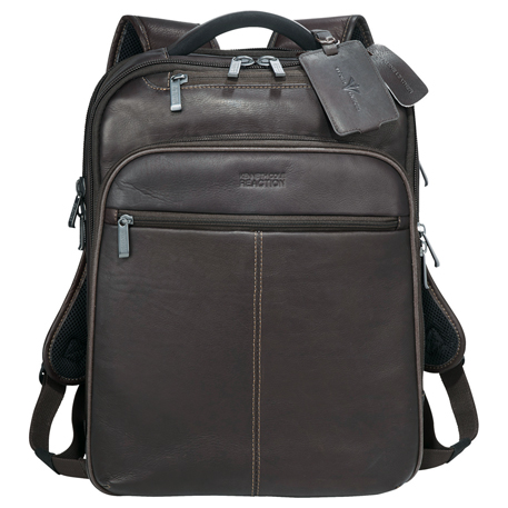Kenneth Cole Colombian Leather TSA Compu-Backpack, 9950-58 - Debossed Imprint